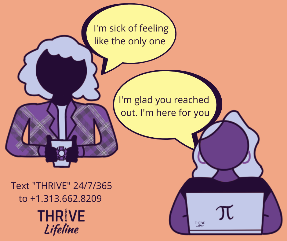 One person is texting on a phone in the top  left, saying I'm sick of feeling like the only one. Another person is on a  laptop in the bottom right, saying I'm glad you reached out. I'm here for you.  Additional text reads text THRIVE 24/7/3655 to +1.313.662.8209 with the THRIVE  Lifeline logo underneath.